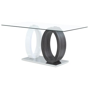 Contemporary Oval Base Dining Table with Glass Top