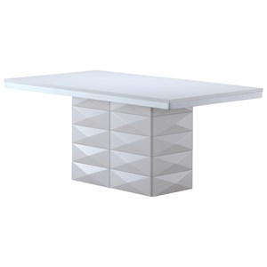 Pedestal Base Dining Table in White Finish