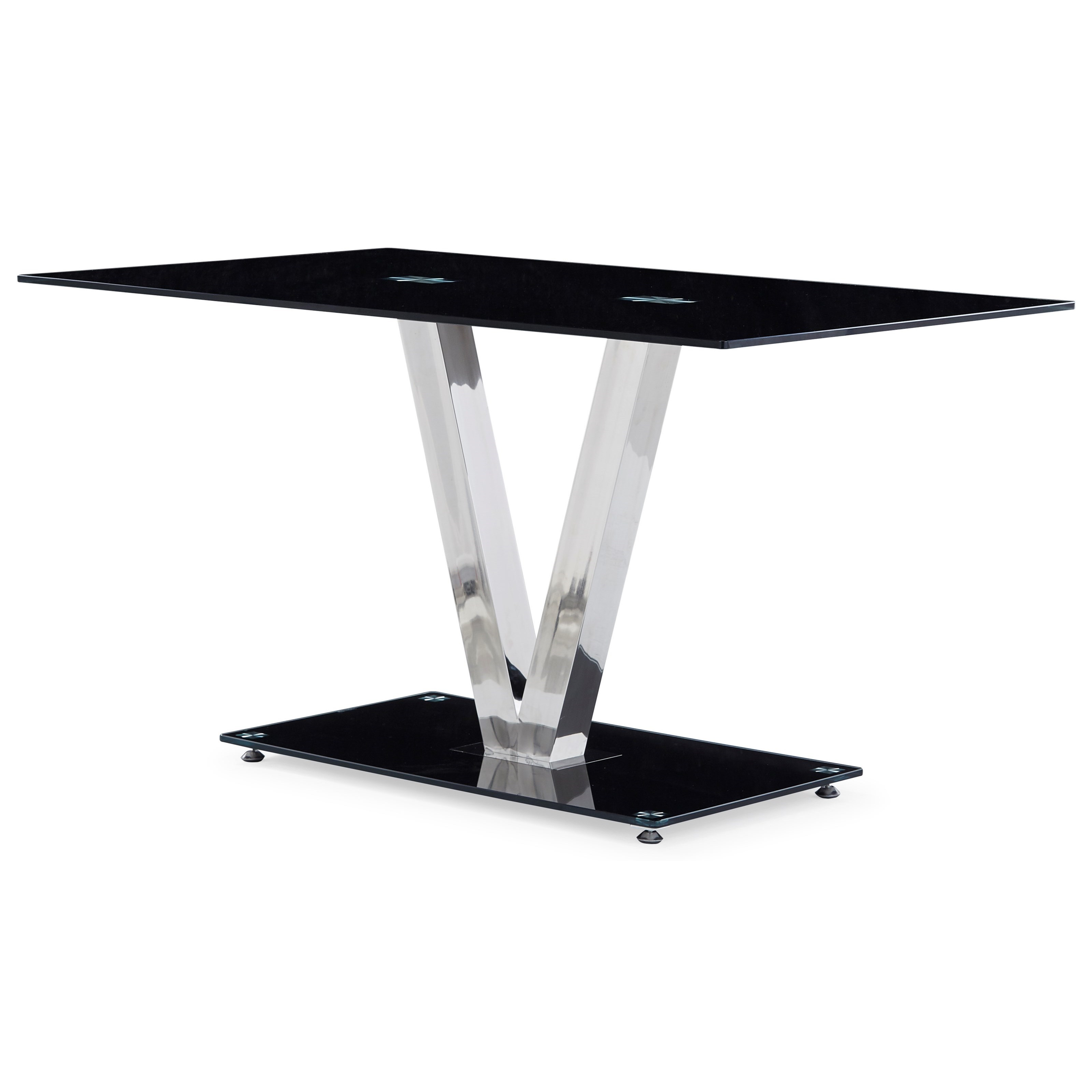 D551 Glossy Dining Table with V-Shape Base by Global Furniture at Dream Home Interiors