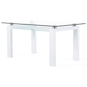 Frosted Glass Dining Table with Floating Glass Top