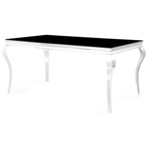 Chrome Leg Dining Table with Black Glass Top