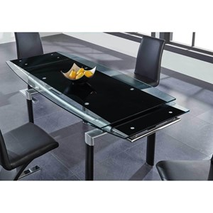 Contemporary Extendable Dining Table with Glass Top