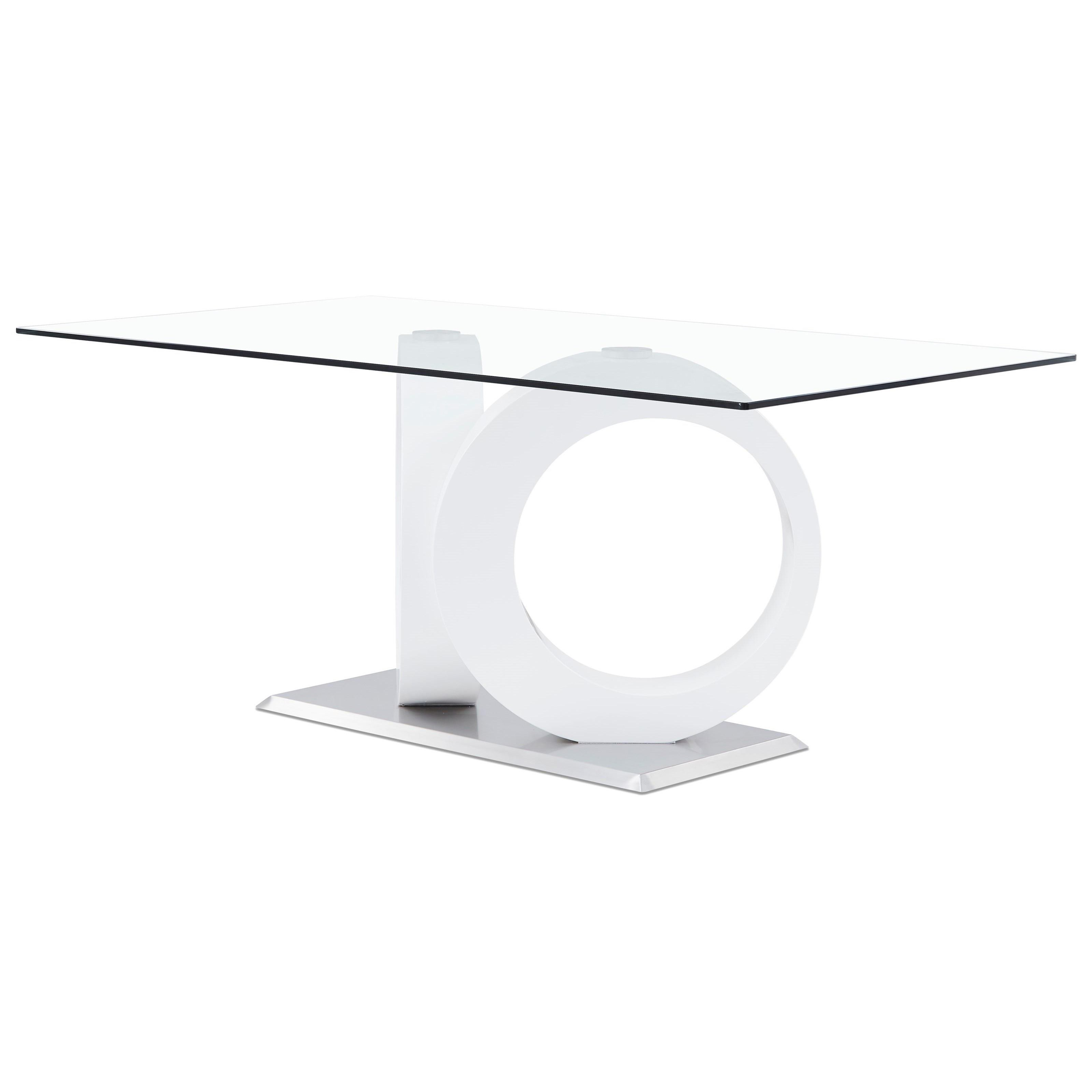 D9002 Glass Dining Table with Geometric Base by Global Furniture at Corner Furniture