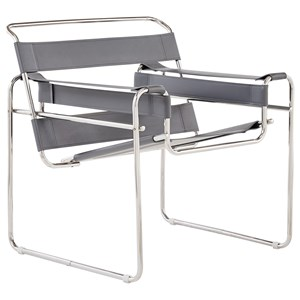Strap Style Chair with Polished Chrome Frame