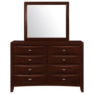 Eight Drawer Dresser and Mirror Set