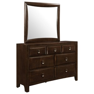 Casual 7 Drawer Dresser and Mirror Combo