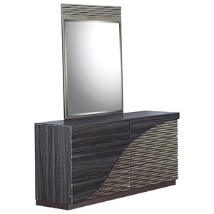 Contemporary 6 Drawer Dresser and Mirror Combo with Zebra Wood Detail