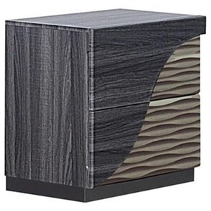 Contemporary 2 Drawer Nightstand with Zebra Wood Detail