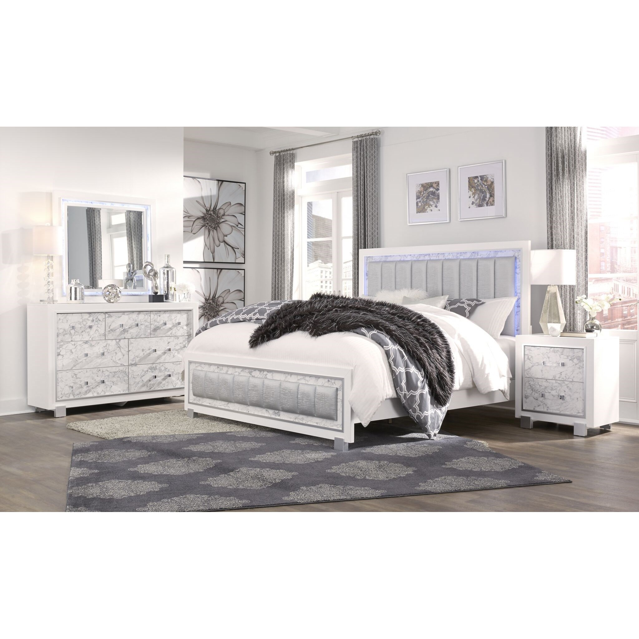 Santorini Queen Bedroom Group by Global Furniture at Nassau Furniture and Mattress