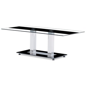 Contemporary Glass Coffee Table with Black Stripe