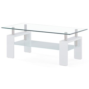 Glass And Frosted Coffee Table with Wooden Legs