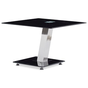 Tempered Glass End Table With Chrome Base