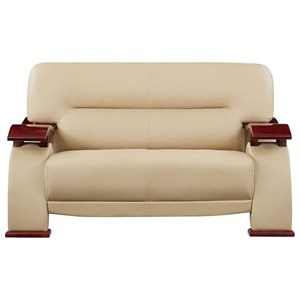 Contemporary Loveseat with Wood Arms