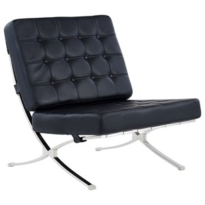 Contemporary Tufted Chair With Chrome Frame