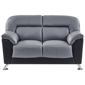 Casual Contemporary Loveseat with Chrome Accent Legs