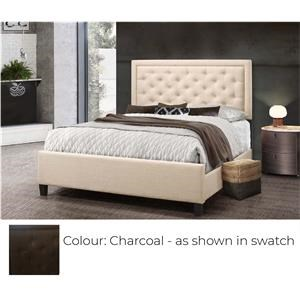 Queen Upholstered Bed - Charcoal