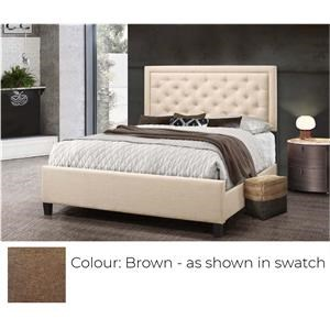 Queen Upholstered Bed - Brown