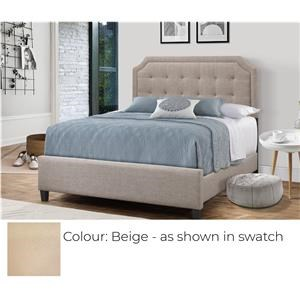 Queen Upholstered Bed - Beige