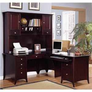 Golden Oak by Whalen Cappuccino Computer Return Desk & Hutch
