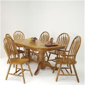 7-Piece Solid Oak Trestle Dining Table & Monarch Chair Set