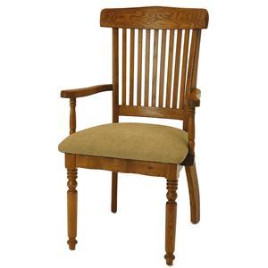 GS Furniture Classic Oak Grand Arm Chair with Cushion