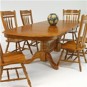"""GS Furniture Classic Oak Rectangular Dining Table with 18"""" Leaf"""