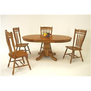 Casual 5 Piece Oval Dining Table and Schoolhouse Chair Set