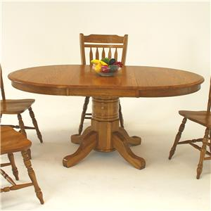 "Oval Pedestal Dining Table with 21"" Leaf"