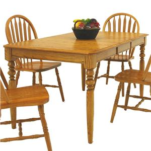 "Solid Oak Rectangular Dining Table with 15"" Butterfly Leaf"
