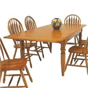 "Solid Oak 4-Leg Dining Table with Two 15"" Leaves"