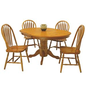 "5-Piece 42"" Round Table & Arrowback Side Chair Set"