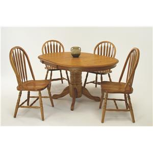 Casual 5 Piece Wide Oval Dining Table with Laminate Top and Chair Set