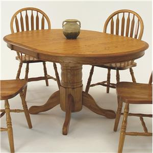 "Oval Pedestal Dining Table with 18"" Leaf"