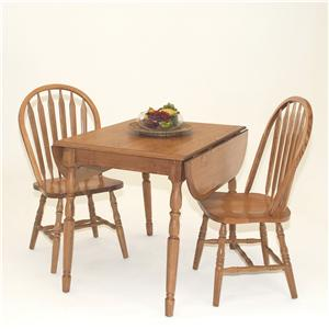 3-Piece Casual Dropleaf Table & Arrowback Side Chair Set