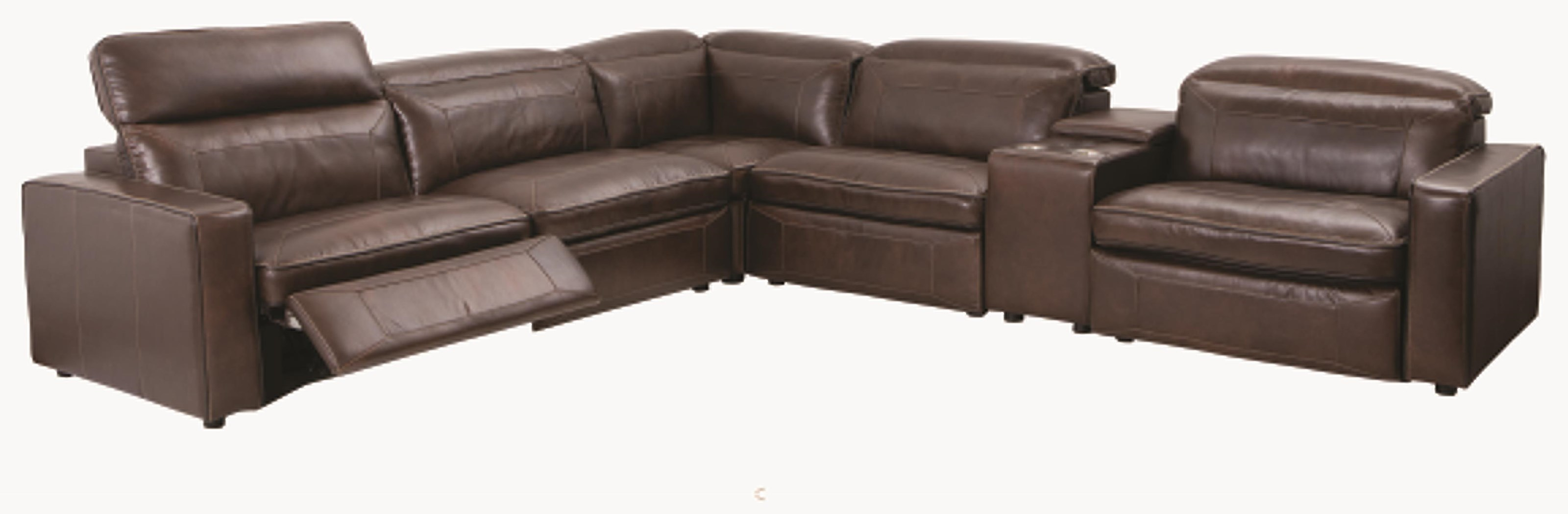 1570 6 Piece Top Grain Leather Match Power Sectio by H317 Logistics at Darvin Furniture