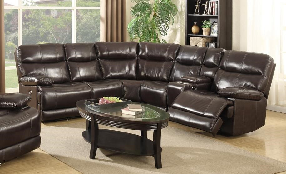 Three Power Headrest Leather Match Sectional