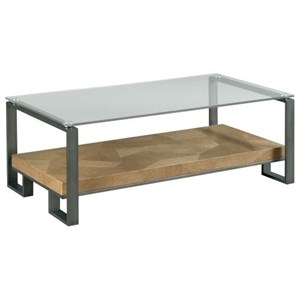 Industrial Rectangular Cocktail Table with Glass Top