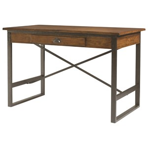 Industrial Dining Table with Metal X-Stretcher