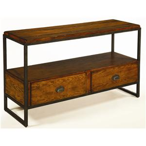 Entertainment Console with Distressed Woodwork and Metal Frame