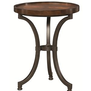 Round Chairside Table with Metal Base