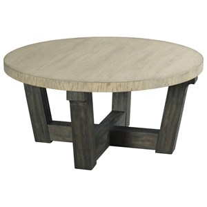 Contemporary Round Cocktail Table with Two-Tone Finish