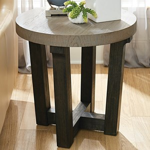 Contemporary Round Accent Table with Two-Tone Finish