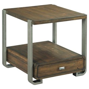 Industrial Rectangular Drawer End Table with Metal Legs