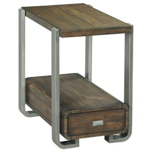 Industrial Chairside Table with Metal Legs
