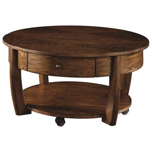 Round Lift-Top Cocktail Table with Lower Shelf and Drawer