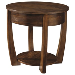 Round End Table with Lower Shelf