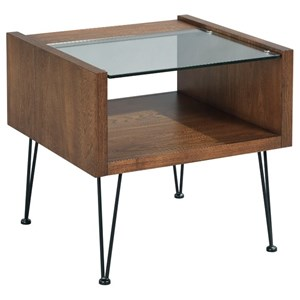 Contemporary End Table with Tempered Glass Top