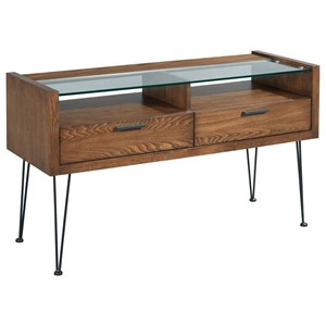 Contemporary Sofa Table with Tempered Glass Top and Two Drawers