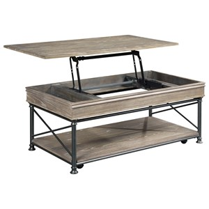 Industrial Rectangular Lift Top Cocktail with Removable Casters