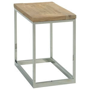 Industrial Chairside Table with Reclaimed Wood Top